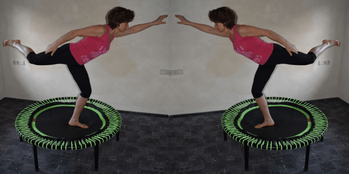Trampolin Trainerin Sylvia Hauck auf einem grünen Rebounder von bellicon®